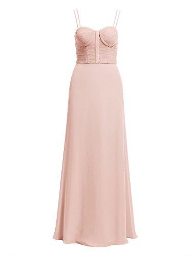 Maxi Evening Alicepub Straps Semi Women's Pink Gown Prom Chiffon Pearl Formal Dress Pleated qr0rBwI