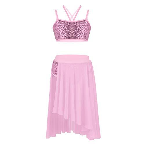- Freebily Girls Shiny Sequined Camisole Leotard Athletic Ballet Tutu Dress Dancewear Pink (2pcs) 8-10
