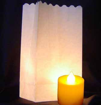 10 blanco + 10 bolsas de papel farol portavelas para velas de té LED y batería