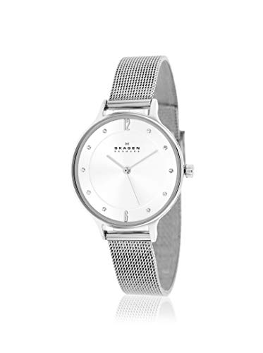 Skagen Women's Anita Quartz Stainless Steel Mesh Watch, Color: Silver, 12 (Model: SKW2149)
