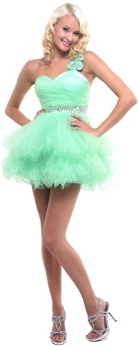 One Shoulder Cocktail Party Junior Prom Dress #907 (16, Mint Green)