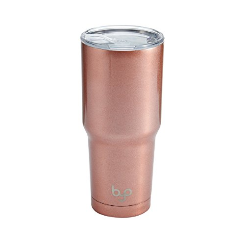 BYO 5212991 Double Wall Stainless Steel Vacuum Insulated Tumbler, 30-Ounce, Metallic Rose Gold ()