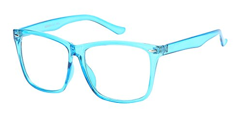 5zero1 Fake Glasses Big Frame Nerd Party Men Women Fashion Classic Retro Eyeglasses, - Frames Teal Glasses