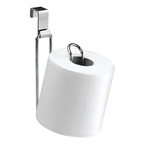 mDesign Metal Over The Tank Toilet Tissue Paper Roll Holder Dispenser and Reserve for Bathroom Storage and Organization - Hanging, Holds 1 Roll - Chrome (Tissue Hanging Toilet Holder)