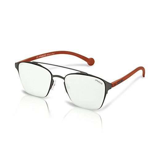Mulco Leaf SQ C161 Red Frame / White Mirror Lens 50 mm RectangLE Sunglasses Sq Leafs