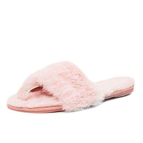 Damen Hausschuhe flache Plüsch Pantoffeln Indoor Slipper mit Kunstfell Pink