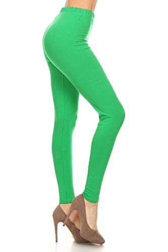 LDX128-Kelly Green Basic Solid Leggings, Plus -