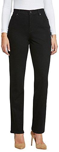 Gloria Vanderbilt Women's Classic Tapered Amanda Jean, Black Rinse Wash/Vine Embroidery, 12 (Wash Rinse Jeans)