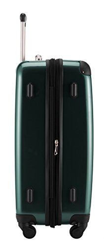 HAUPTSTADTKOFFER® 74 Liter Hartschalen Koffer · (63 x 42 x 28 cm) · Hochglanz · Zahlenschloss · WALDGRÜN