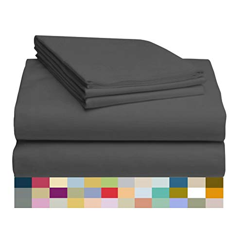 LuxClub 4 PC Microfiber and Bamboo Sheet Set: Bamboo Bedding Sheets with Microfiber - Softer and More Breathable Than Cotton - Antibacterial and Hypoallergenic - Machine Washable, Dark Grey, Queen