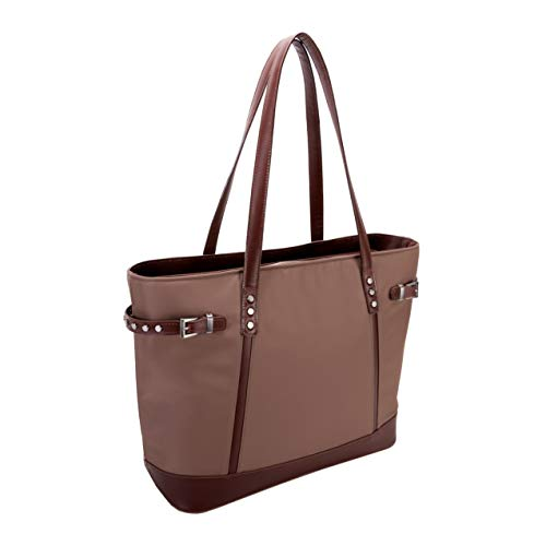 McKlein, N Series, ARIA, Nano Tech-Light Nylon with Leather Trim, Nylon Ladies' Tote, Khaki (17564)