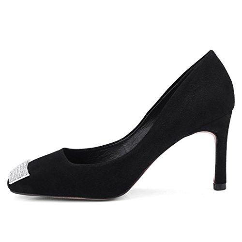 Nero con GAOLIXIA perline da alto tacco banchetto donna da Tacco lavoro donna pelle strass da da scarpe scarpe alto in con wpqRYw