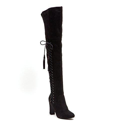 Mircosuede Dames Dij Hoge Laarzen Negentig Unie Door Dame Couture Broadway Zwart