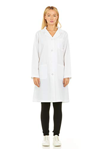 Med Hanger Womens White Lab Coat Uniform - 40 Inch Professional Unisex 3 Pocket with Belt, XXL