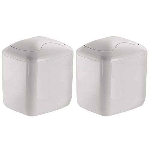 mDesign Modern Plastic Square Mini Wastebasket Trash Can Dispenser with Swing Lid for Bathroom Vanity Countertop or Tabletop - Dispose of Cotton Rounds, Makeup Sponges, Tissues - 2 Pack - Light Gray (Square Iron Tables Nesting)