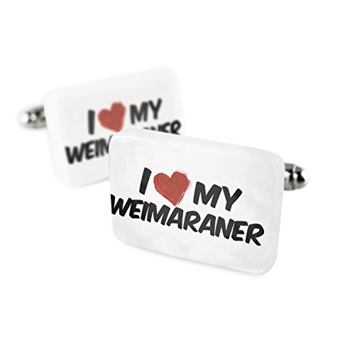 Cufflinks I Love my Weimaraner Dog from Germany Porcelain Ceramic NEONBLOND