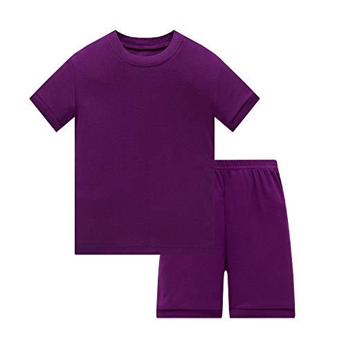 (Huata Girls Boys Pajamas Sleepwears 2 Piece 100% Cotton (Purple, 5))