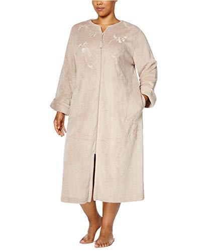 Miss Elaine Women's Plus Size Embroidered Fleece Robe, Beige (1X)