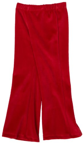 Flap Happy Little Girls' Velour Solid Boot Cut Pant,Red,6
