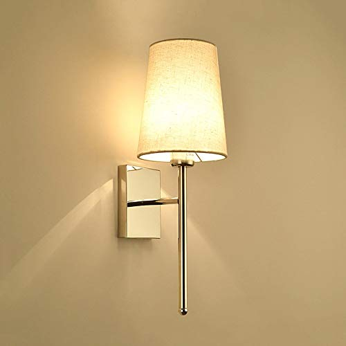 (ROLLBBB Single Classic Rustic Industrial Wall Sconce Lighting Fixture with Flared White Textile Lamp Shade and Antique Brass Tapered Column Stand )