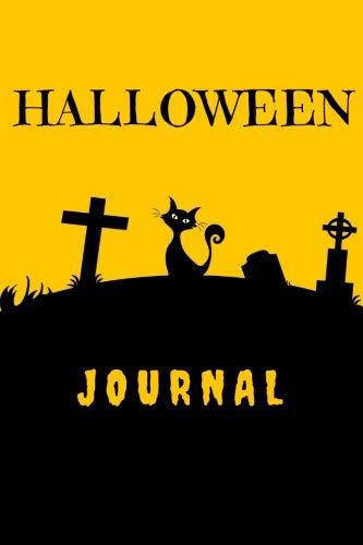Halloween Journal: Wide Ruled Black Graveyard Cat Gift Notebook (6