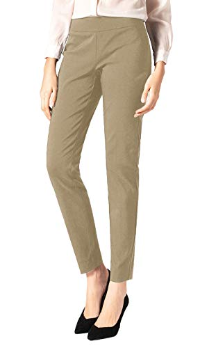 SATINATO Women's Straight Pants Stretch Slim Skinny Solid Trousers Casual Business Office (0 Regular, Khaki-Elasticized - Woman Size 0