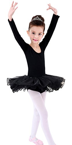 [Baby Girls Solid Dance Costumes Leotard Long Sleeve Lace Puff Skirt for Ballet Yoga Latin Tango Salsa Active Black] (Salsa Dancer Outfit)