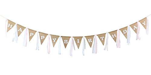 Rustic Burlap Banner with Lace Silk Ribbon Printed Happy Birthday Garland Pennant Vintage Bunting Banner Triangle Flags DIY Decoration for Birthday Party Home Decor 10Ft