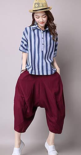 Leggero Tinta Alto Elasticizzati Salopette Chiffon Oversize Donna Confortevoli Rosso Ricamo Cotone Menran Pantalone Unita Casual Moda Pantaloni Larghi Flare 5YRxngwq