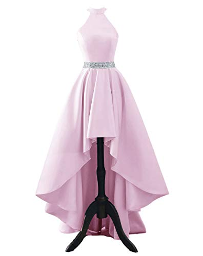 Chnaguan Womens Halter High Low Satin Prom Evening Dress Cocktail Party Gowns Pink-8