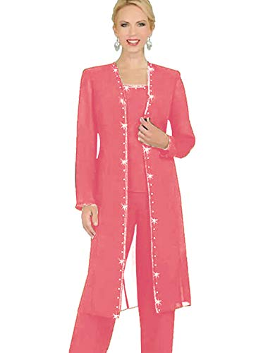 Mother Of The Bride Designer Suits - WZW Designer 3 Piece Chiffon Pant Suits Mother of The Bride Pant Suits Long Jacket Evening Party
