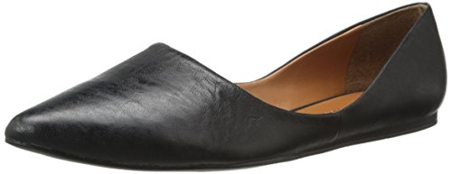 Franco Sarto Women's Heath pointy toe flat skimmer, Black Leather, 6.5 M US