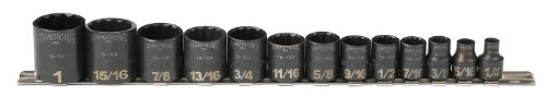 Armstrong 19-150 3/8-Inch Drive 12 Point Black Oxide Socket Set, 13-Piece ()