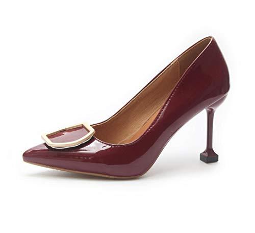 DANDANJIE Hebilla del Metal del Estilete de la Manera del otoño del tacón Alto para Mujer Zapatos Atractivos de la Punta del Gatito del Gatito del talón Rojo