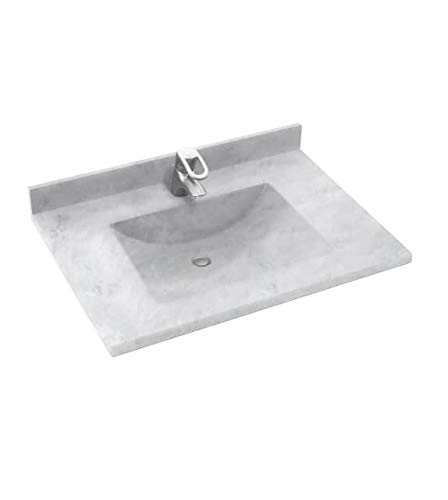 Swan CV02237.130 Contour Solid Surface Single-Bowl Vanity Top, 37-in L X 22-in H X 6.25-in H, Ice