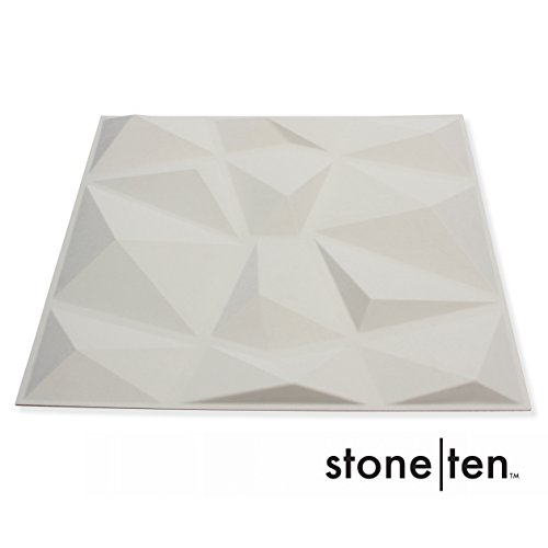 - 3D Wall Panels - Decorative Wall Panels - Textured Wall Paneling - Matte White Paintable 3D Wall Tiles (12, Faceted)