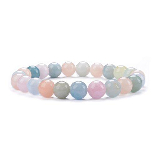 "Cherry Tree Collection Natural Semi-Precious Gemstone Beaded Stretch Bracelet 8mm Round Beads 7"" (Morganite Multi Beryl Aqua)"