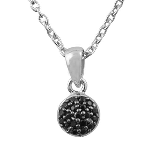 Round Cut Pave Setting Black Spinal Pendant on Rhodium plated 925 Sterling Silver ()
