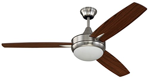 Craftmade TG52BNK3 Protruding Mount, 3 Walnut Dark Oak Blades Ceiling fan with 54 watts light, Brushed Polished Nickel