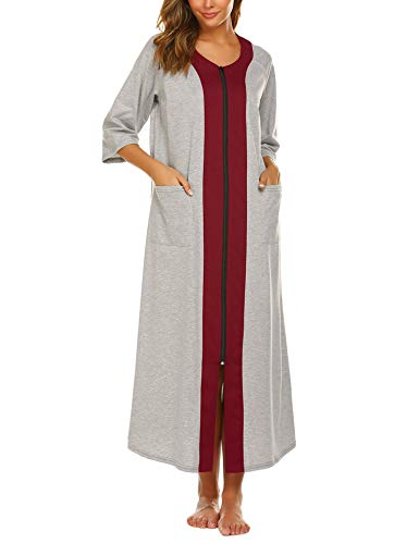 Ekouaer Womens Loose Fit Zip-Front Robe Dress Cotton Short Sleeve Bathrobe Long Length Sleepwear Housecoat(Light Grey,S)