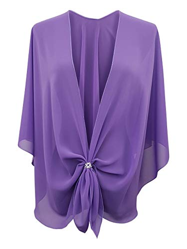 eXcaped Women's Evening Shawl Wrap Sheer Chiffon Open Front Cape and Silver Scarf Ring (Lavender) ()