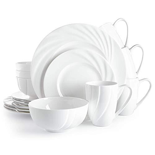 Divitis Home Ocean Bone China Dinnerware Set 16pcs, Round Plates (Soup Bowls, Dinner Plates, Salad Plates), Dinnerware…