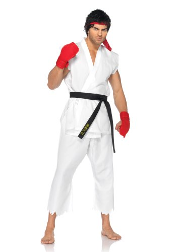 [Leg Avenue Men's Street Fighter 5 Piece Ryu Costume, White, Medium/Large] (Ryu Costume)