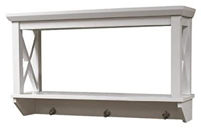 RiverRidge X-Frame Collection Bathroom Wall Shelf with Hooks
