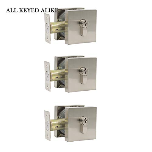 - Exterior Door Deadbolts Locks with Same Keys, Double Cylinder Deadbolts Keyed on Both Sides in Satin Nickel Finish, Door Locks Square Faceplates Low Profile, 3 Pack