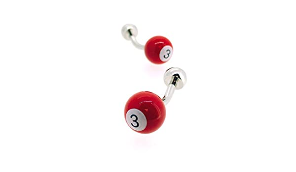 Gemelos para camisa Bola de Billar Roja Numero 3: Amazon.es: Ropa y accesorios