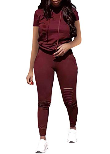 Women Casual 2 Piece Sport Outfits Short Sleeve Ripped Hole Pullover Hoodie Sweatpants Set Jumpsuits (Wine Red, - Wine Piece 2 Set