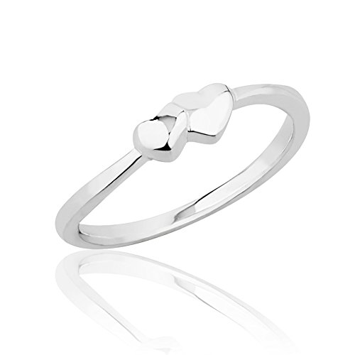 925 Sterling Silver Solid (2) Intertwined Hearts Thin Band Knuckle Midi or Thumb Ring 4mm, Size 5 - Heart Solid Toe Ring