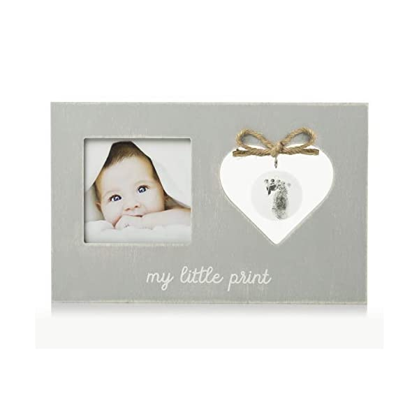 """Pearhead""""My Little Print"""" Picture Frame and Heart-Shaped Handprint Kit, Baby Keepsake, Baby Registry Must Haves, Gray"""