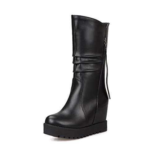Allhqfashion Women's Kitten-Heels Soft Material Low-top Solid Pull-on Boots Black